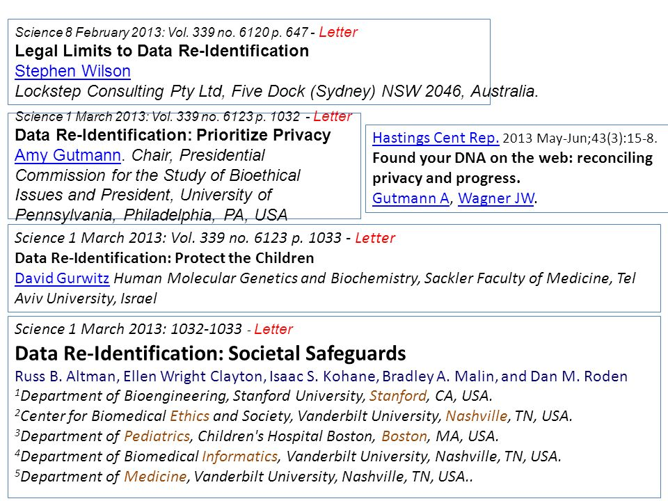 Science 8 February 2013: Vol. 339 no. 6120 p. 647 - Letter Legal Limits to Data Re-Identification Stephen Wilson Lockstep Consulting Pty Ltd, Five Doc