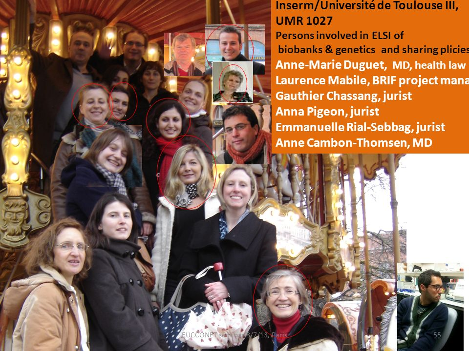 Inserm/Université de Toulouse III, UMR 1027 Persons involved in ELSI of biobanks & genetics and sharing plicies Anne-Marie Duguet, MD, health law Laur