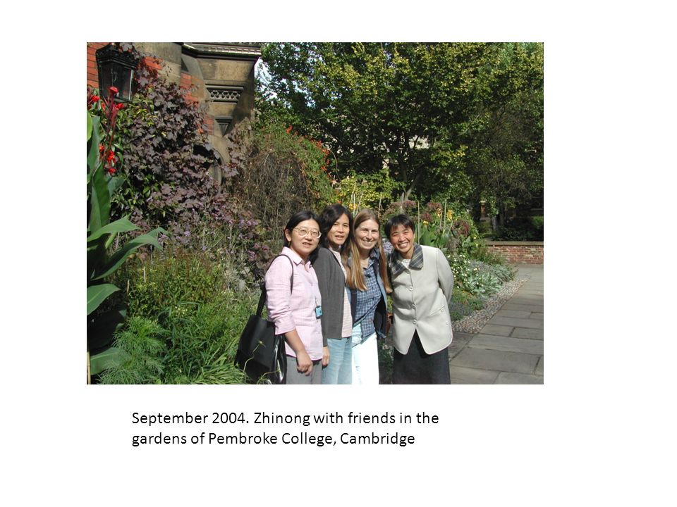 September Zhinong with friends in the gardens of Pembroke College, Cambridge