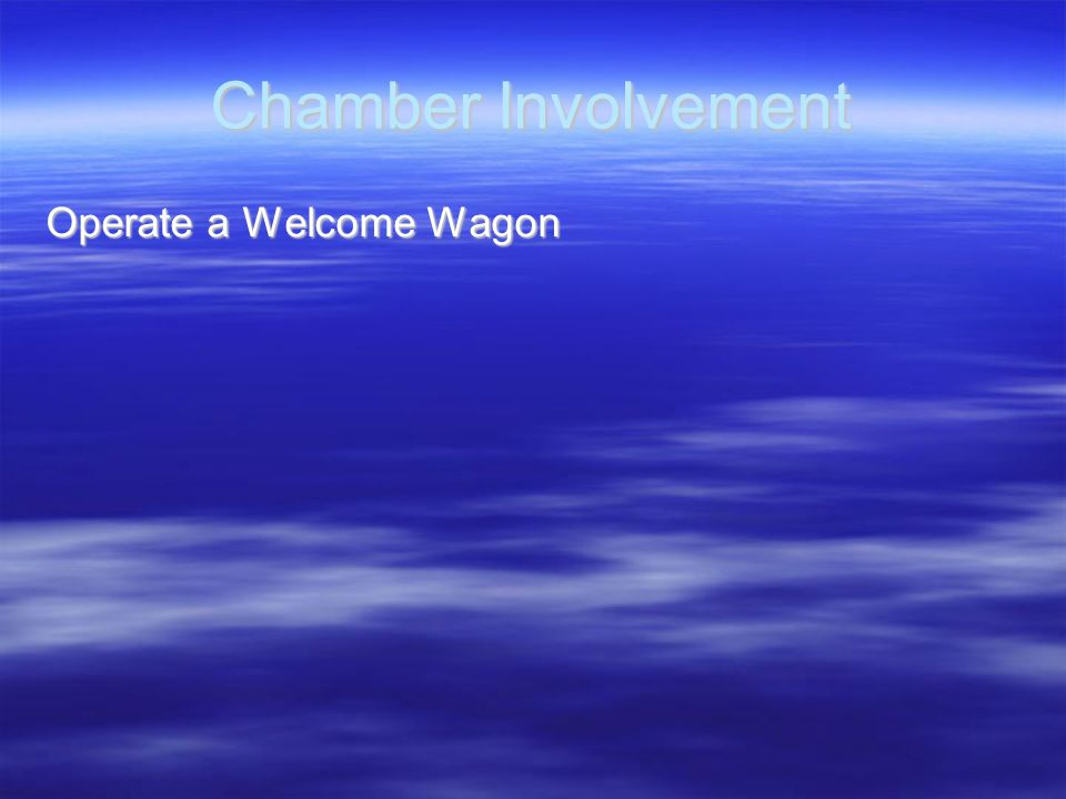 Chamber Involvement Operate a Welcome Wagon
