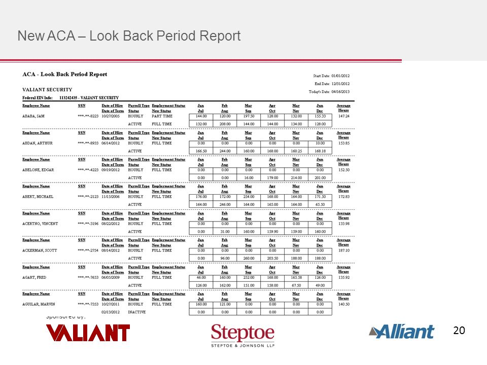 20 Sponsored by : New ACA – Look Back Period Report