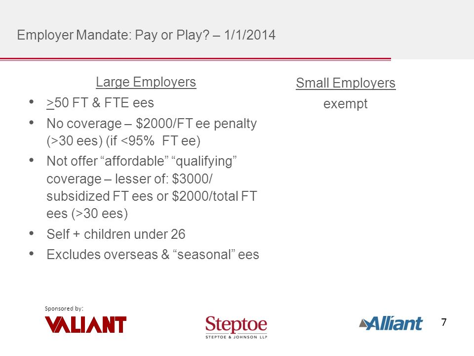 7 Sponsored by : Employer Mandate: Pay or Play.