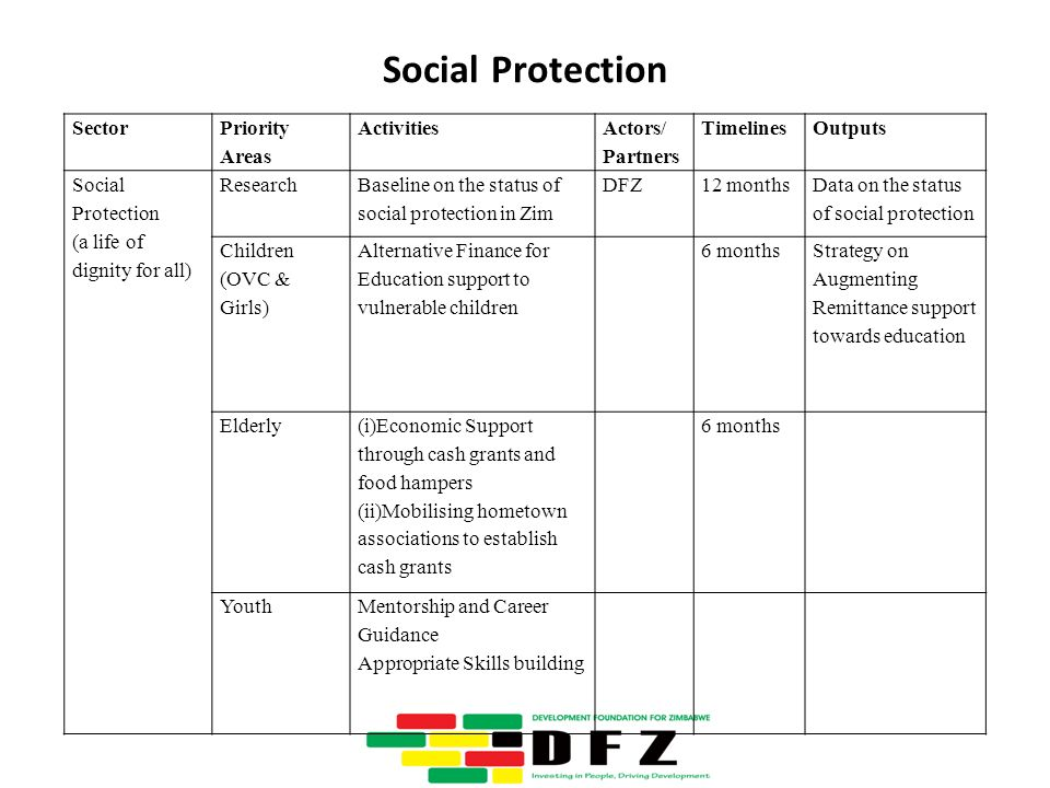 Social Protection Sector Priority Areas Activities Actors/ Partners TimelinesOutputs Social Protection (a life of dignity for all) Research Baseline on the status of social protection in Zim DFZ12 months Data on the status of social protection Children (OVC & Girls) Alternative Finance for Education support to vulnerable children 6 months Strategy on Augmenting Remittance support towards education Elderly (i)Economic Support through cash grants and food hampers (ii)Mobilising hometown associations to establish cash grants 6 months YouthMentorship and Career Guidance Appropriate Skills building