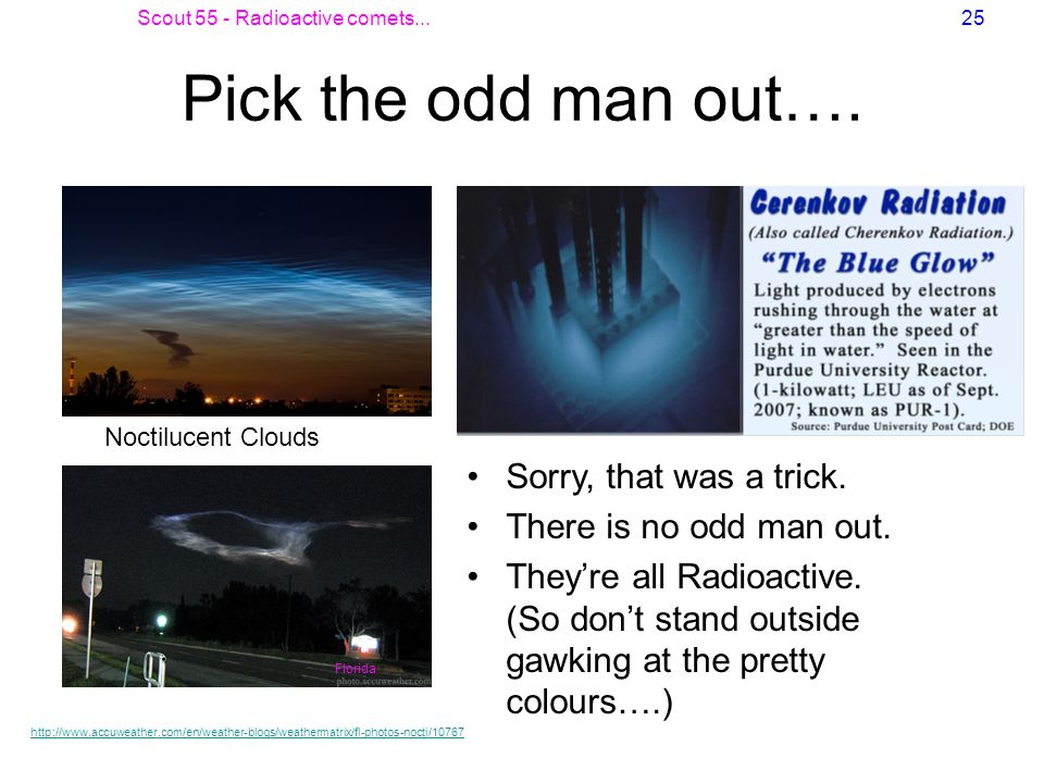 Scout 55 - Radioactive comets...25 Pick the odd man out…. Sorry, that was a trick. There is no odd man out. Theyre all Radioactive. (So dont stand out