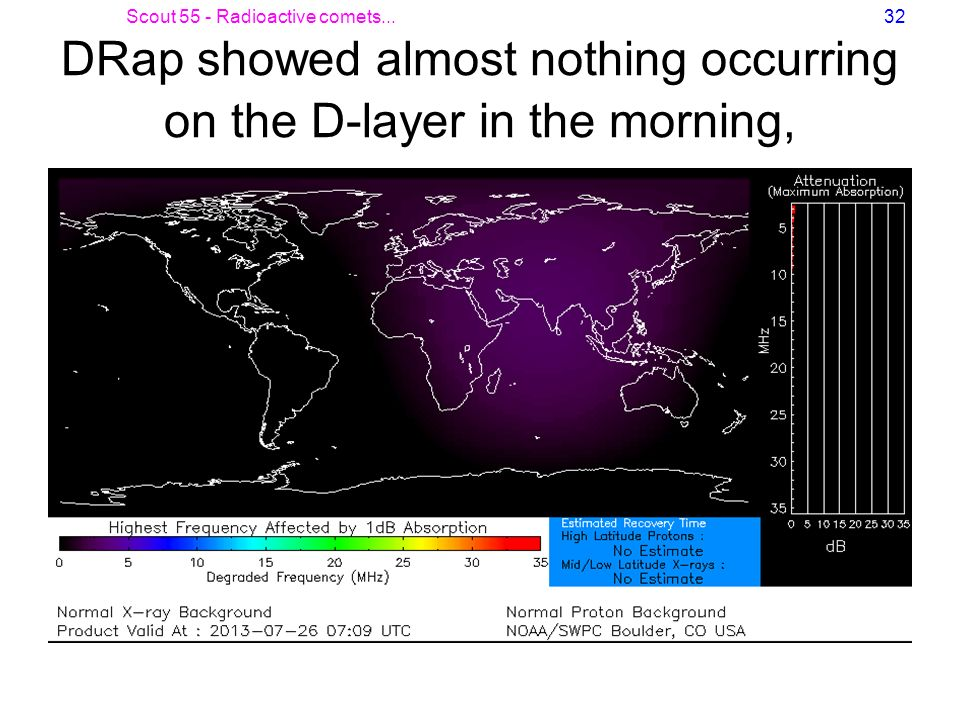 Scout 55 - Radioactive comets...32 DRap showed almost nothing occurring on the D-layer in the morning,