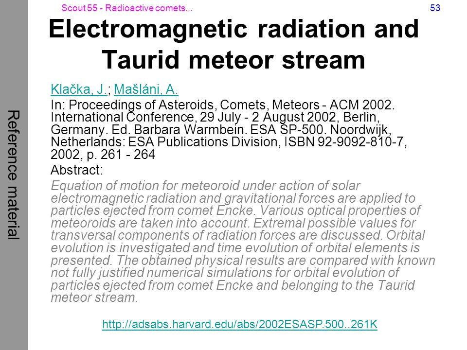 Scout 55 - Radioactive comets...53 Electromagnetic radiation and Taurid meteor stream Klačka, J.Klačka, J.; Mašláni, A.Mašláni, A. In: Proceedings of