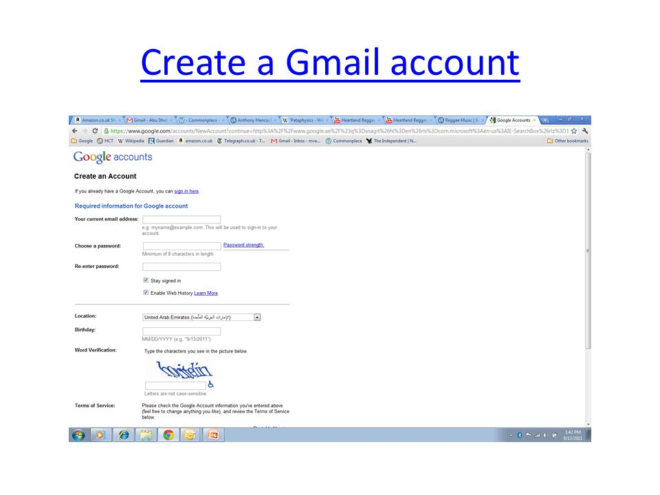 Create a Gmail account