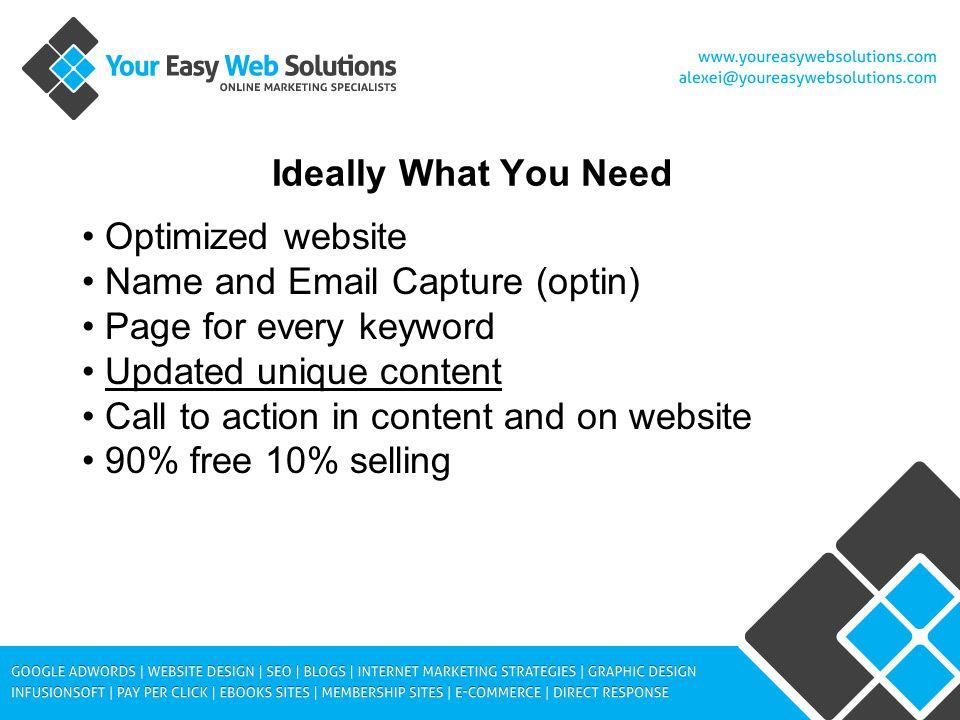 Ideally What You Need Optimized website Name and Email Capture (optin) Page for every keyword Updated unique content Call to action in content and on website 90% free 10% selling