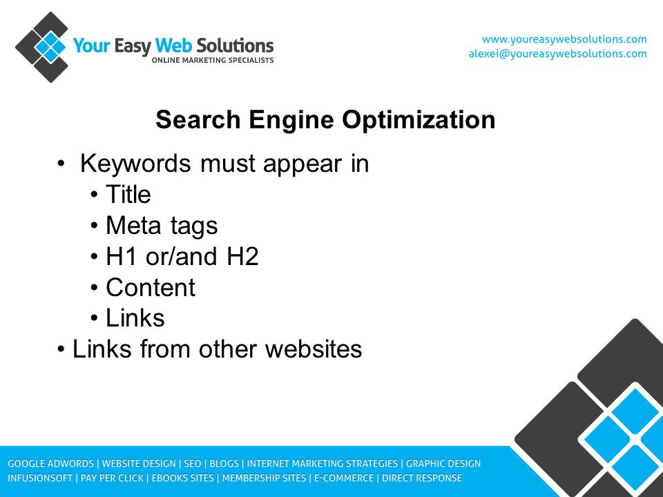 Search Engine Optimization Keywords must appear in Title Meta tags H1 or/and H2 Content Links Links from other websites