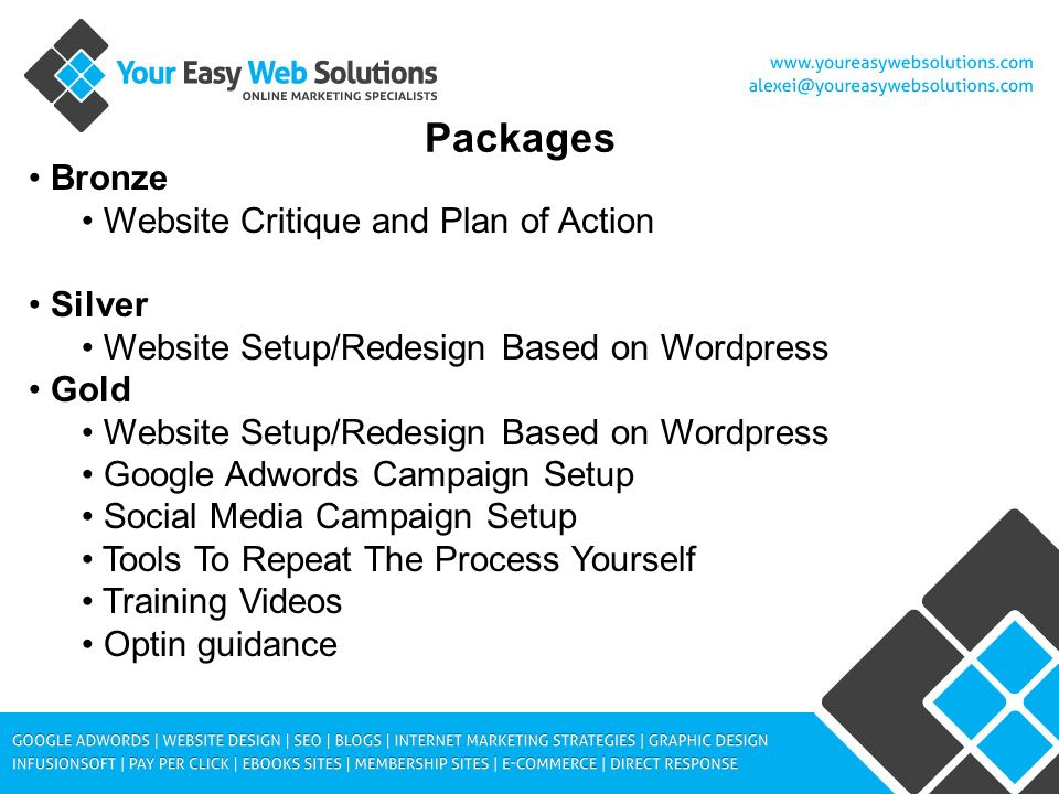 Packages Bronze Website Critique and Plan of Action Silver Website Setup/Redesign Based on Wordpress Gold Website Setup/Redesign Based on Wordpress Google Adwords Campaign Setup Social Media Campaign Setup Tools To Repeat The Process Yourself Training Videos Optin guidance