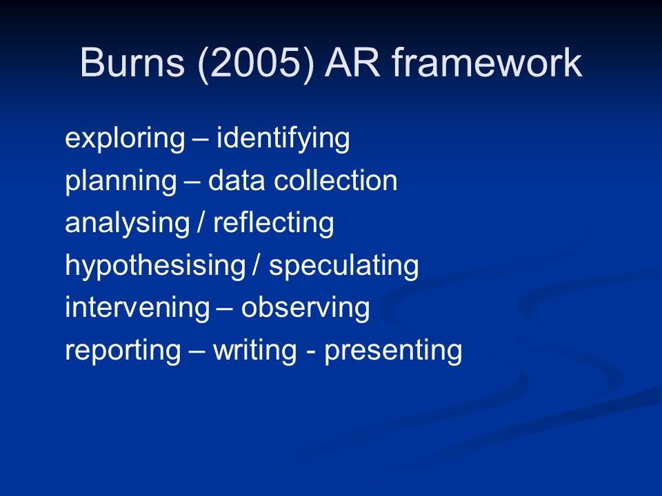 Burns (2005) AR framework exploring – identifying planning – data collection analysing / reflecting hypothesising / speculating intervening – observin
