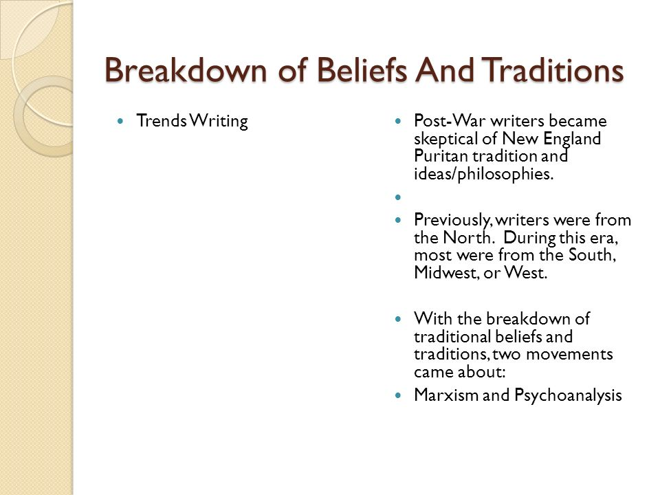 Trends Marxism – beginning of Socialism and Communism Psychoanalysis – new field of psychology that was pioneered by Sigmund Freud.
