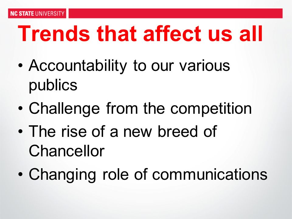 Trends that affect us all Accountability to our various publics Challenge from the competition The rise of a new breed of Chancellor Changing role of communications