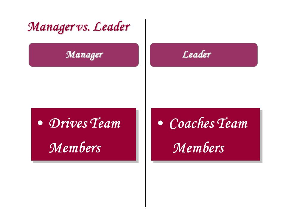 Manager vs. Leader Manager Drives Team Members Coaches Team Members Coaches Team Members Leader