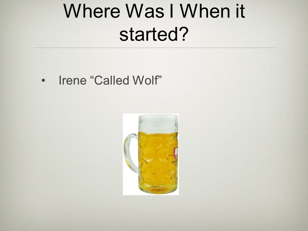 Where Was I When it started? Irene Called Wolf