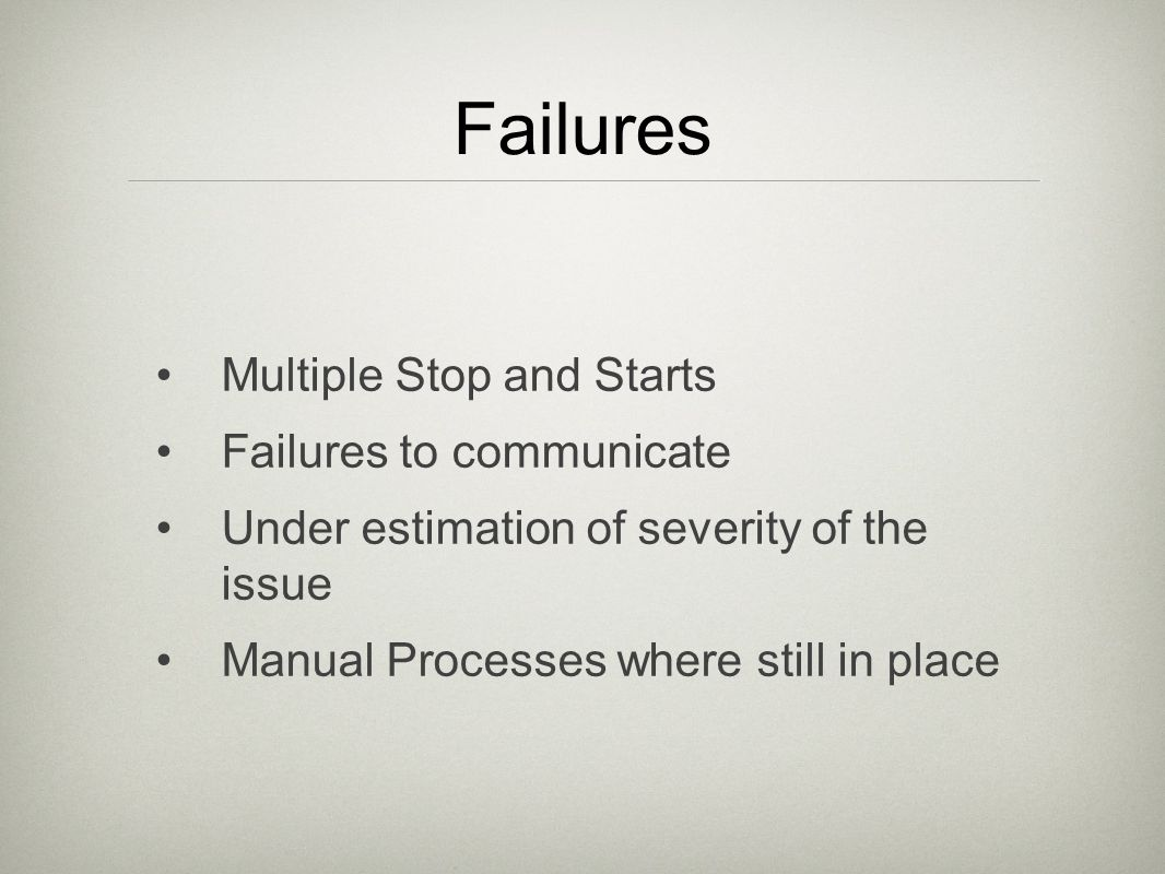 Failures Multiple Stop and Starts Failures to communicate Under estimation of severity of the issue Manual Processes where still in place