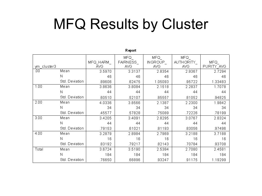 MFQ Results by Cluster