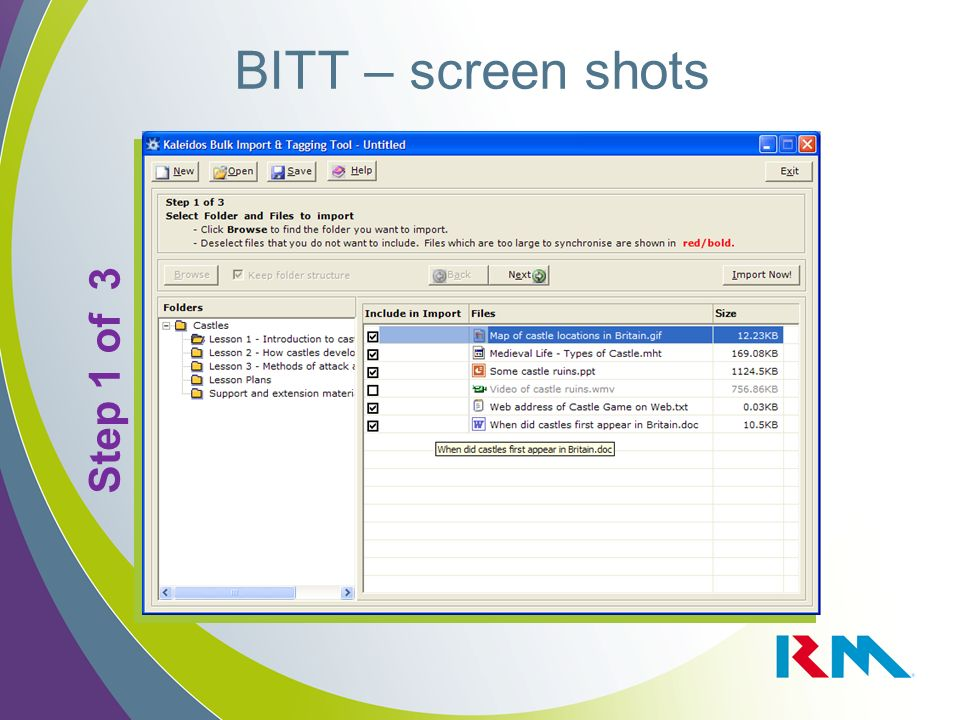 BITT – screen shots Step 1 of 3