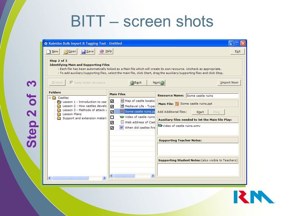 BITT – screen shots Step 2 of 3