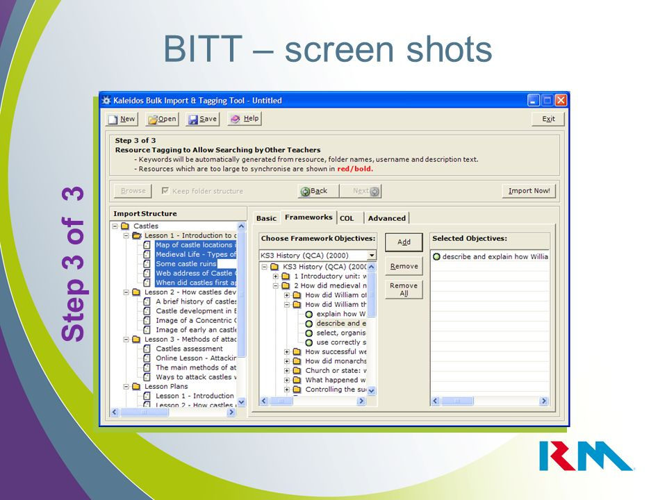 BITT – screen shots Step 3 of 3