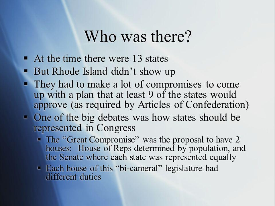 Who was there? At the time there were 13 states But Rhode Island didnt show up They had to make a lot of compromises to come up with a plan that at le