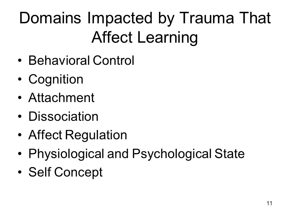 11 Domains Impacted by Trauma That Affect Learning Behavioral Control Cognition Attachment Dissociation Affect Regulation Physiological and Psychologi