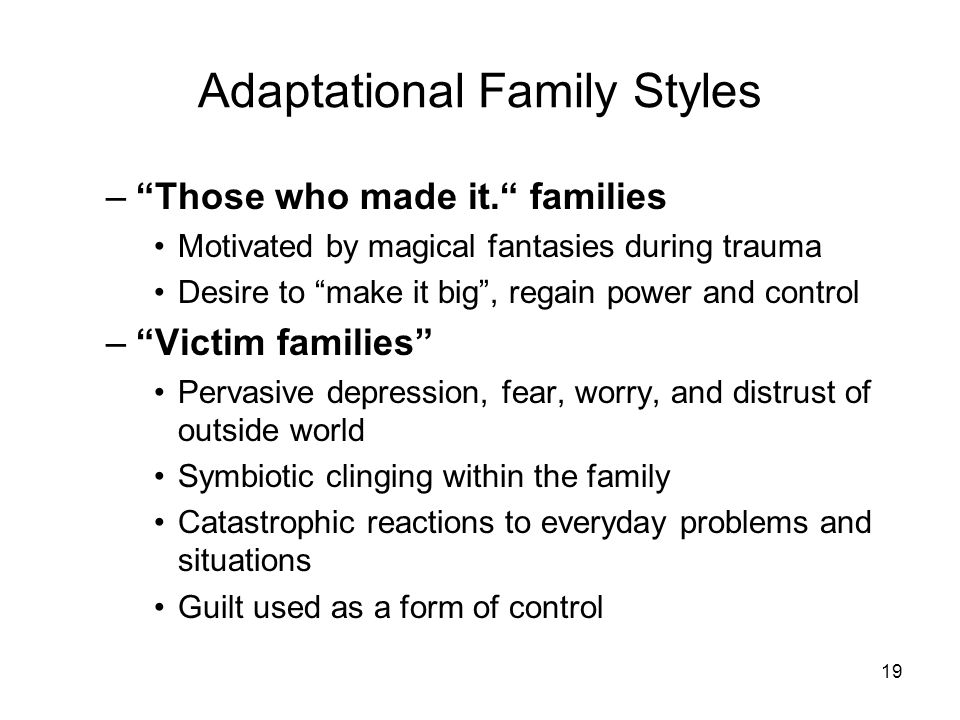 19 Adaptational Family Styles –Those who made it. families Motivated by magical fantasies during trauma Desire to make it big, regain power and contro