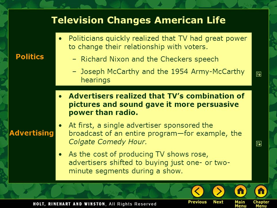 Television Changes American Life Advertisers realized that TVs combination of pictures and sound gave it more persuasive power than radio. At first, a