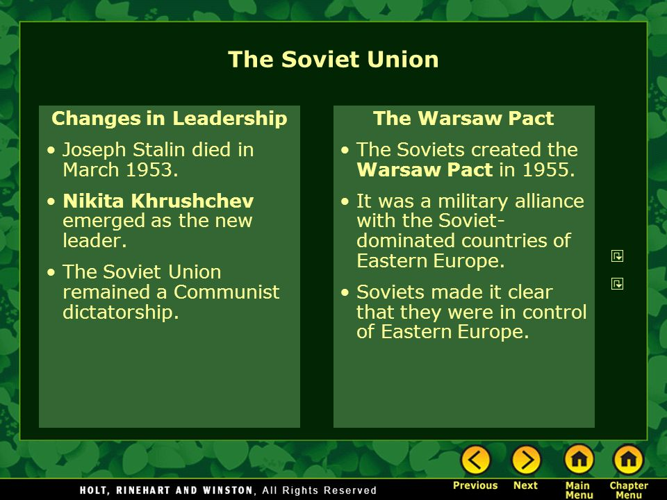 The Soviet Union Changes in Leadership Joseph Stalin died in March 1953. Nikita Khrushchev emerged as the new leader. The Soviet Union remained a Comm