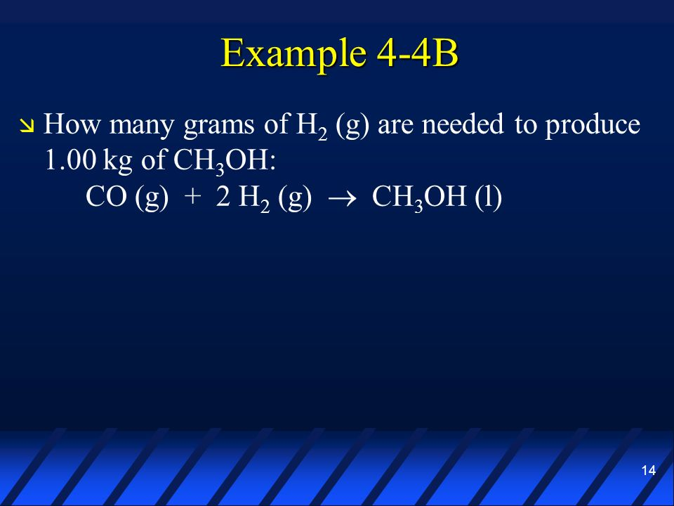14 Example 4-4B How many grams of H 2 (g) are needed to produce 1.00 kg of CH 3 OH: CO (g) + 2 H 2 (g) CH 3 OH (l)