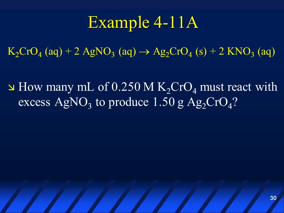 30 Example 4-11A K 2 CrO 4 (aq) + 2 AgNO 3 (aq) Ag 2 CrO 4 (s) + 2 KNO 3 (aq) How many mL of 0.250 M K 2 CrO 4 must react with excess AgNO 3 to produc