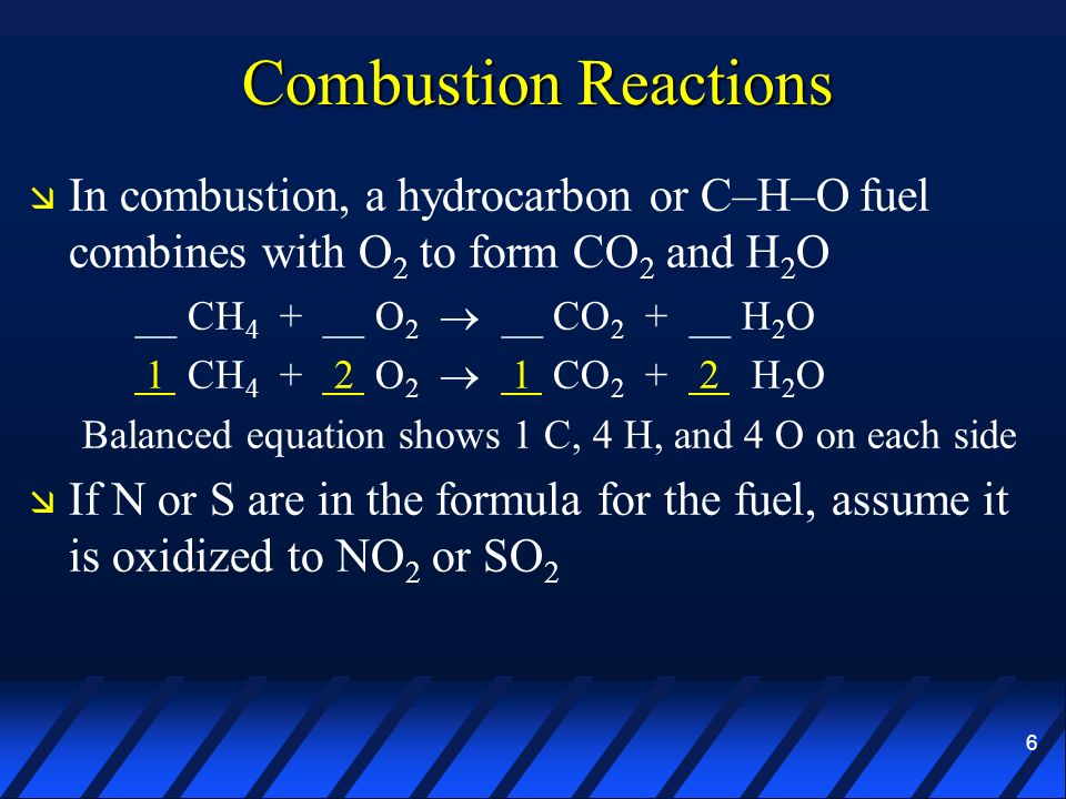 6 Combustion Reactions In combustion, a hydrocarbon or C–H–O fuel combines with O 2 to form CO 2 and H 2 O __ CH 4 + __ O 2 __ CO 2 + __ H 2 O 1 CH 4
