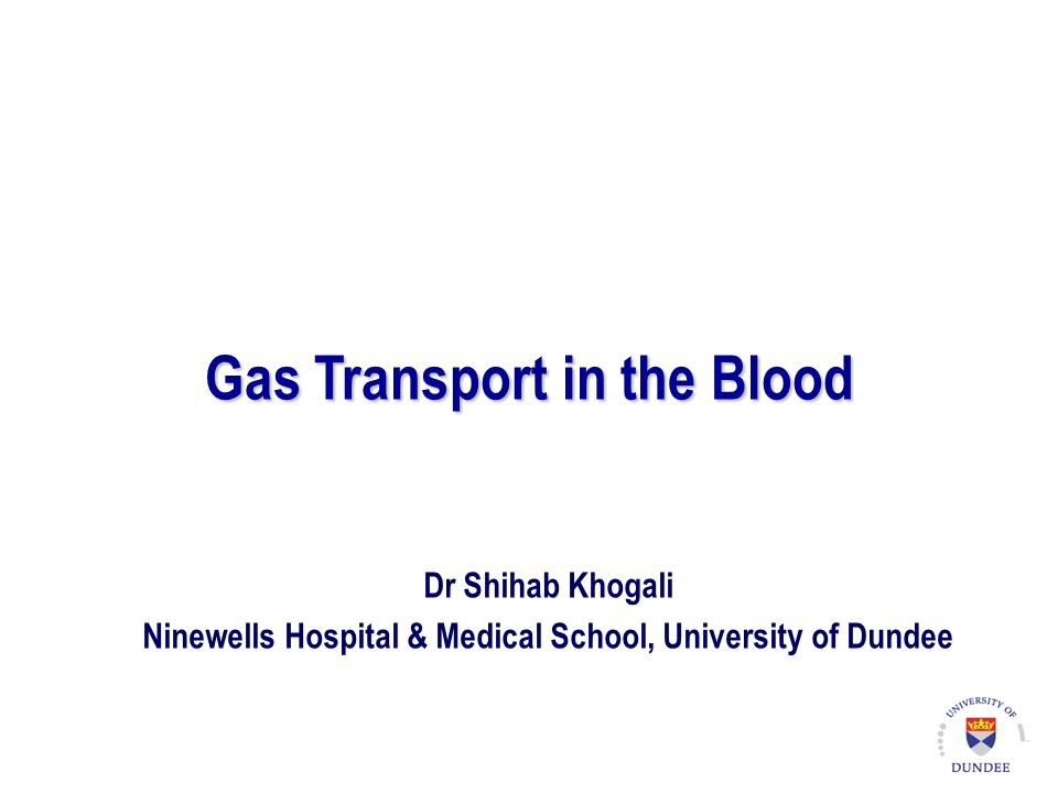 Gas Transport in the Blood Dr Shihab Khogali Ninewells Hospital & Medical School, University of Dundee