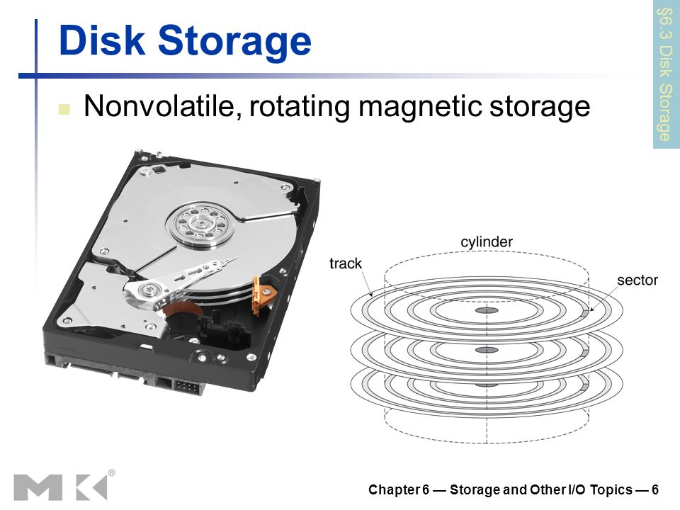 Chapter 6 Storage and Other I/O Topics 6 Disk Storage Nonvolatile, rotating magnetic storage §6.3 Disk Storage
