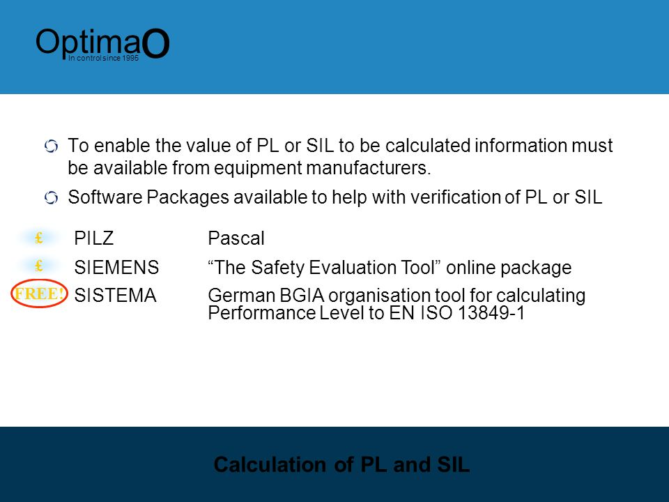 12 Optima o In control since 1995 Safety Level Comparison SIL calculations can be approximately converted over to PL levels… The relationship between