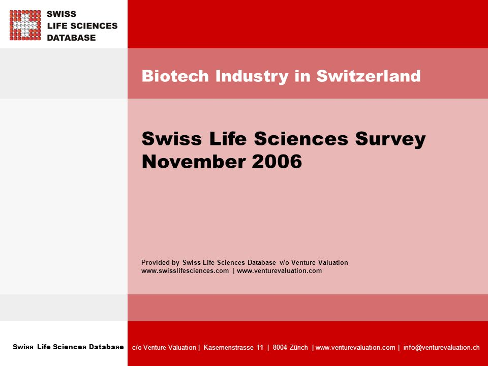 Swiss Life Sciences Database c/o Venture Valuation   Kasernenstrasse 11   8004 Zürich   www.venturevaluation.com   info@venturevaluation.ch Biotech Industry In Switzerland Swiss Life Sciences Survey November 2006 Swiss Biotech Companies - Breakdown by Biotech Clusters Comments: Total of 296 companies.