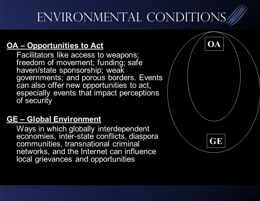 Environmental conditions OA – Opportunities to Act Facilitators like access to weapons; freedom of movement; funding; safe haven/state sponsorship; weak governments; and porous borders.