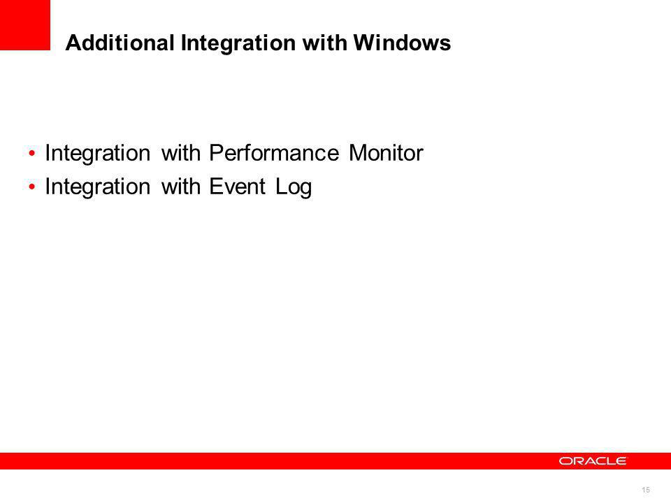 15 Additional Integration with Windows Integration with Performance Monitor Integration with Event Log