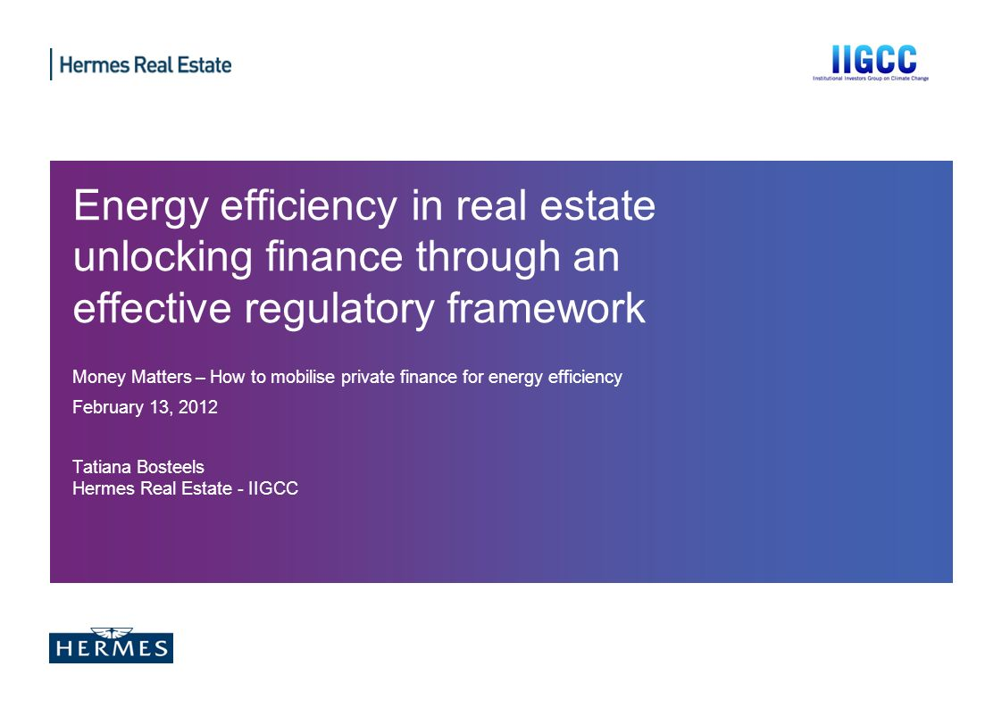 Energy efficiency in real estate unlocking finance through an effective regulatory framework Money Matters – How to mobilise private finance for energ