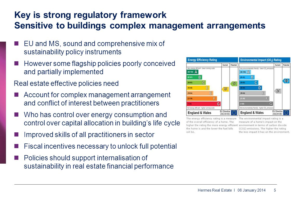 Key is strong regulatory framework Sensitive to buildings complex management arrangements EU and MS, sound and comprehensive mix of sustainability pol