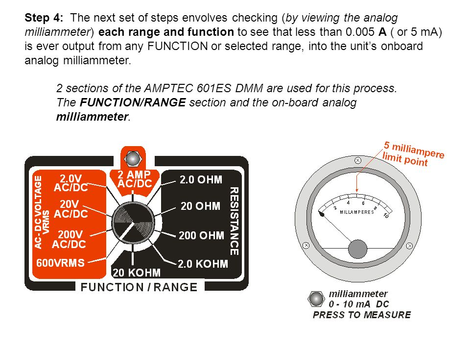 2 sections of the AMPTEC 601ES DMM are used for this process. The FUNCTION/RANGE section and the on-board analog milliammeter. Step 4: The next set of