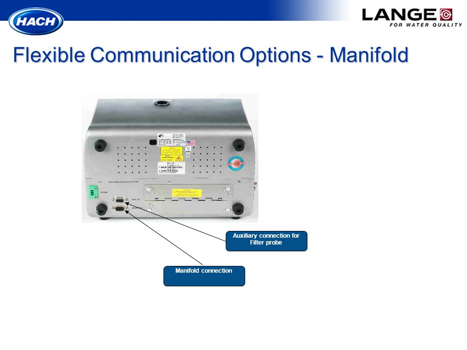 Flexible Communication Options - Manifold Manifold connection Auxiliary connection for Filter probe