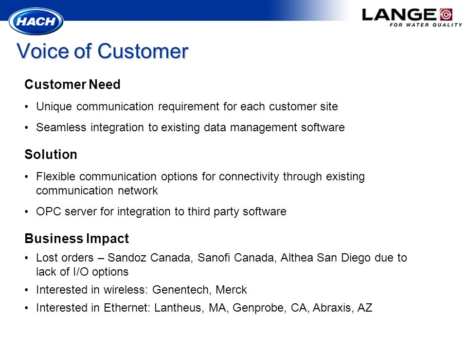 Voice of Customer Customer Need Unique communication requirement for each customer site Seamless integration to existing data management software Solu