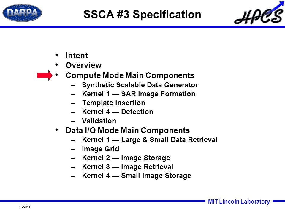 MIT Lincoln Laboratory 1/6/2014 SSCA #3 Specification Intent Overview Compute Mode Main Components –Synthetic Scalable Data Generator –Kernel 1 SAR Im