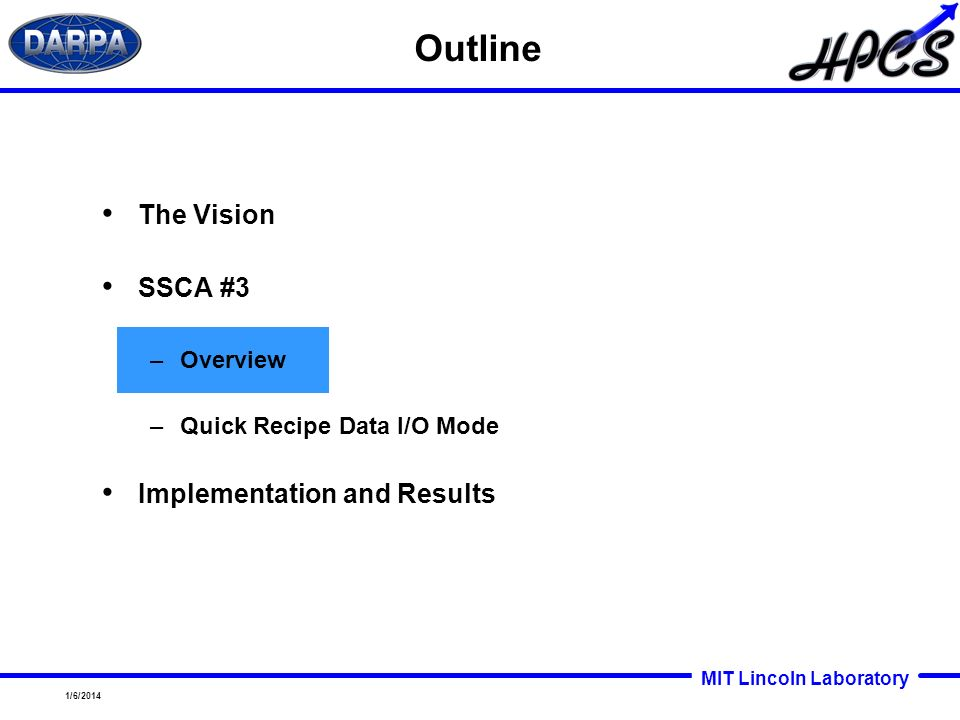MIT Lincoln Laboratory 1/6/2014 Outline The Vision SSCA #3 –Overview –Quick Recipe Data I/O Mode Implementation and Results