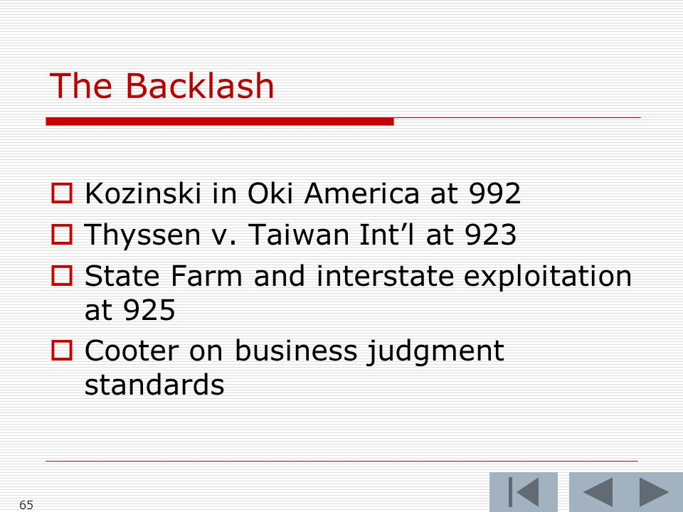 The Backlash Kozinski in Oki America at 992 Thyssen v.