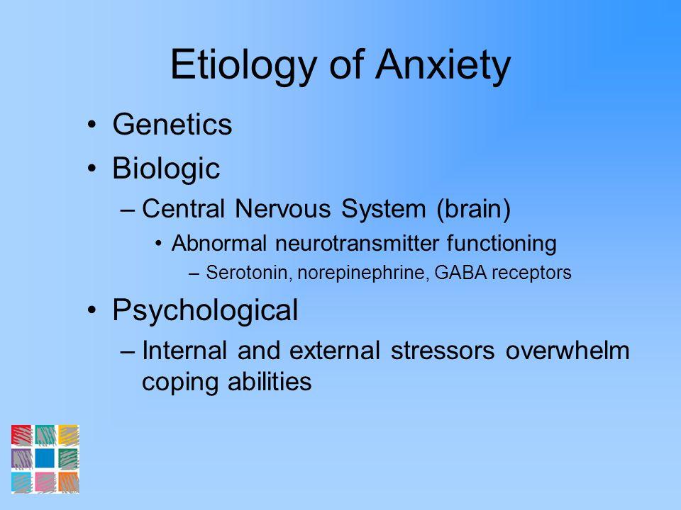 Etiology of Anxiety Genetics Biologic –Central Nervous System (brain) Abnormal neurotransmitter functioning –Serotonin, norepinephrine, GABA receptors