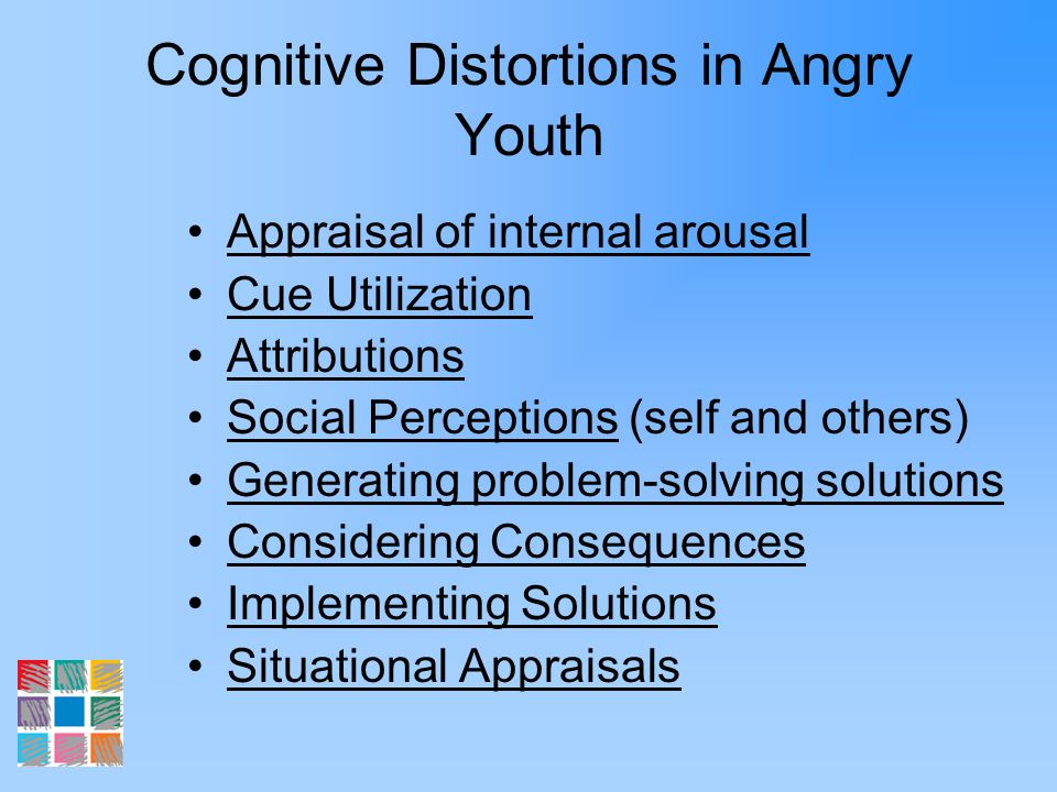 Cognitive Distortions in Angry Youth Appraisal of internal arousal Cue Utilization Attributions Social Perceptions (self and others) Generating proble