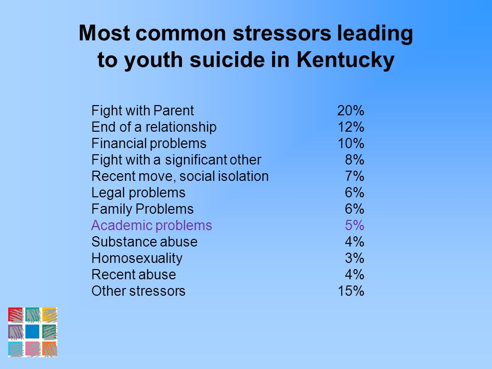 Most common stressors leading to youth suicide in Kentucky Fight with Parent20% End of a relationship12% Financial problems10% Fight with a significan