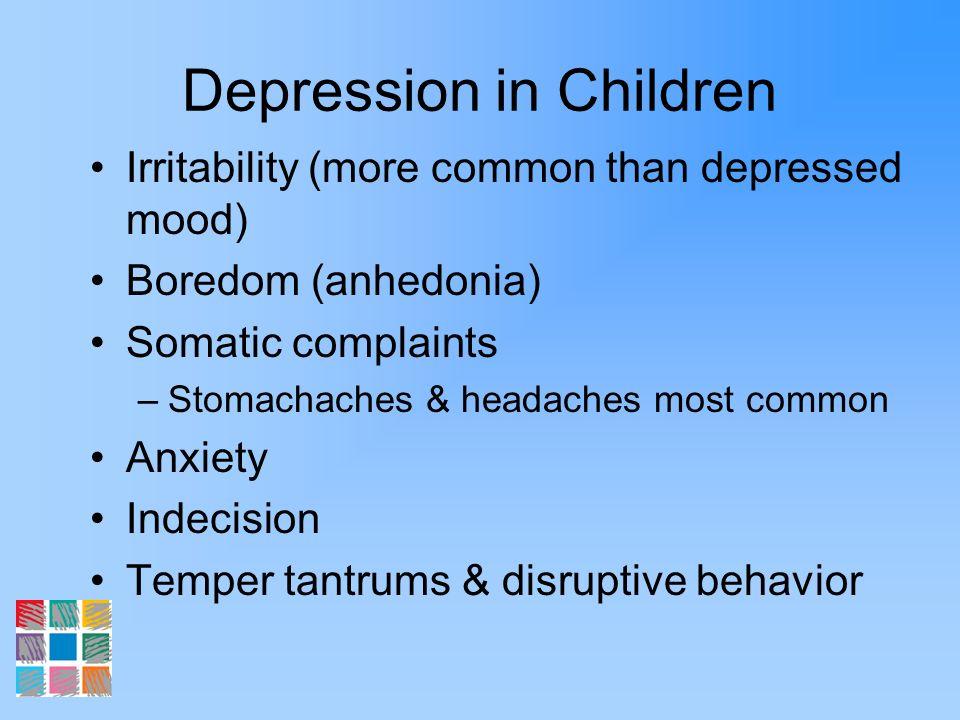 Medications Depression/Anxiety –Antidepressants SSRIs Atypical antidepressants TCAs Bipolar Disorder/Mood dysregulation –Mood stabilizers –Antidepressants